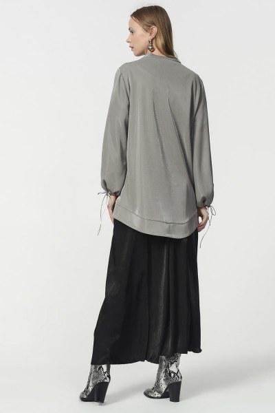 قميص ثقيل مع أكمام دانتيل مفصلة (رمادي) - Thumbnail