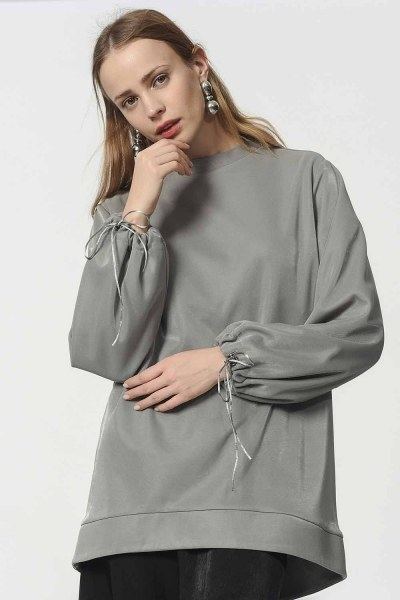 Sweatshirt With Lacing Detailed Sleeves (Grey) - Thumbnail