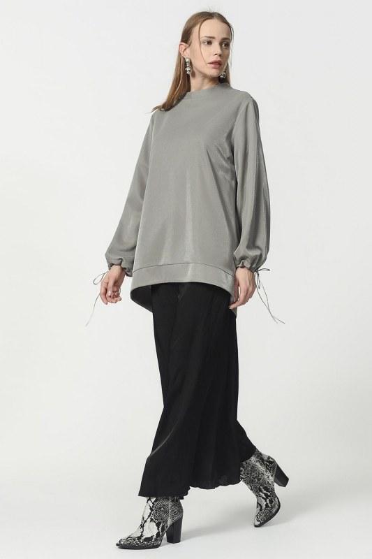 Kolu Bağcıklı Sweatshirt (Gri) 4816