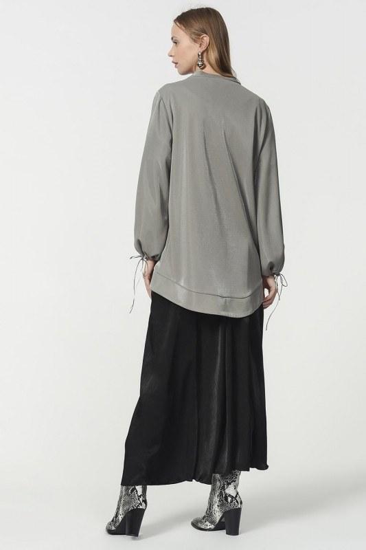 Kolu Bağcıklı Sweatshirt (Gri) 4817