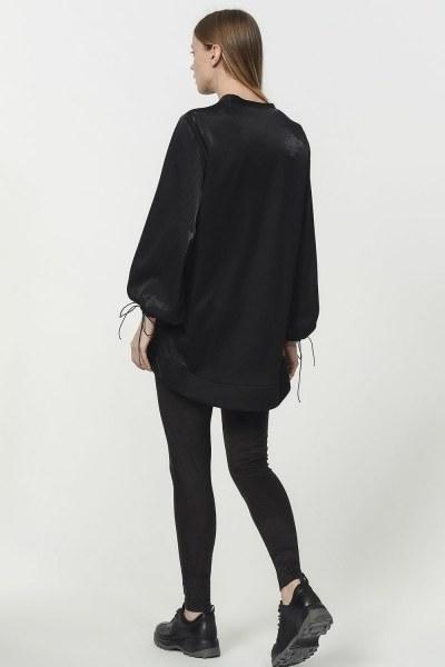 قميص ثقيل مع أكمام دانتيل مفصلة (أسود) - Thumbnail
