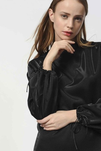 MIZALLE - قميص ثقيل مع أكمام دانتيل مفصلة (أسود) (1)