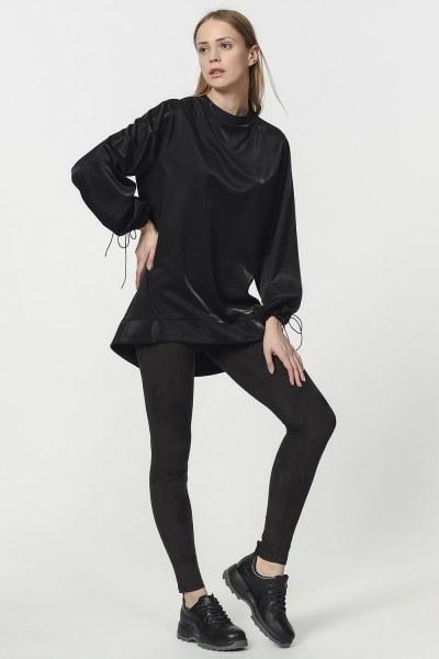 Sweatshirt With Lacing Detailed Sleeves (Black) - Thumbnail