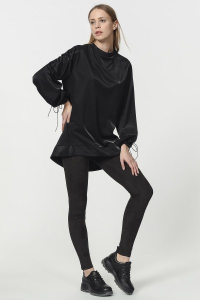 MIZALLE - Kolu Bağcıklı Sweatshirt (Siyah) (1)