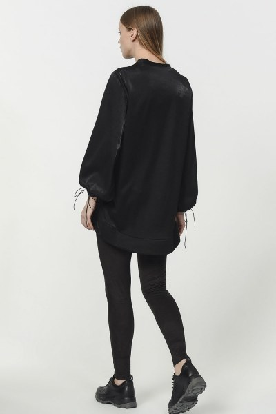 Kolu Bağcıklı Sweatshirt (Siyah) - Thumbnail