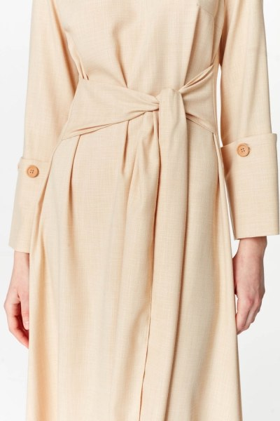 فستان مع تفاصيل زر الأكمام (البيج) - Thumbnail