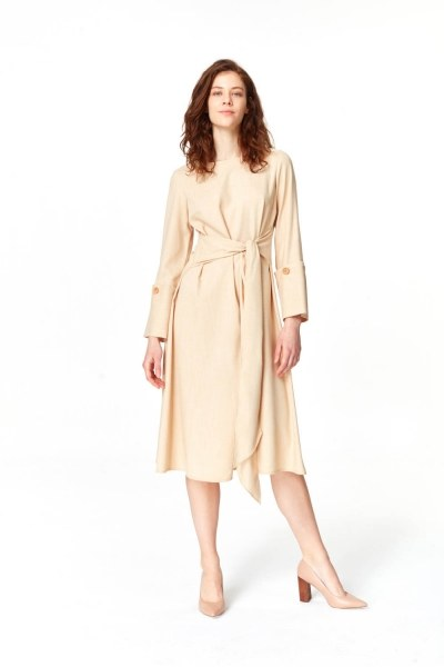 Kolu Düğme Detaylı Elbise (Bej) - Thumbnail