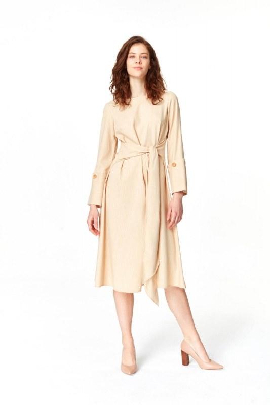 Kolu Düğme Detaylı Elbise (Bej)