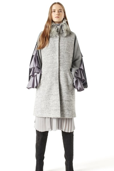 Zipped Sleeve Fur Collar Coat (Grey) - Thumbnail