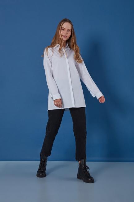 Mizalle - Kolu Fırfırlı Beyaz Gömlek