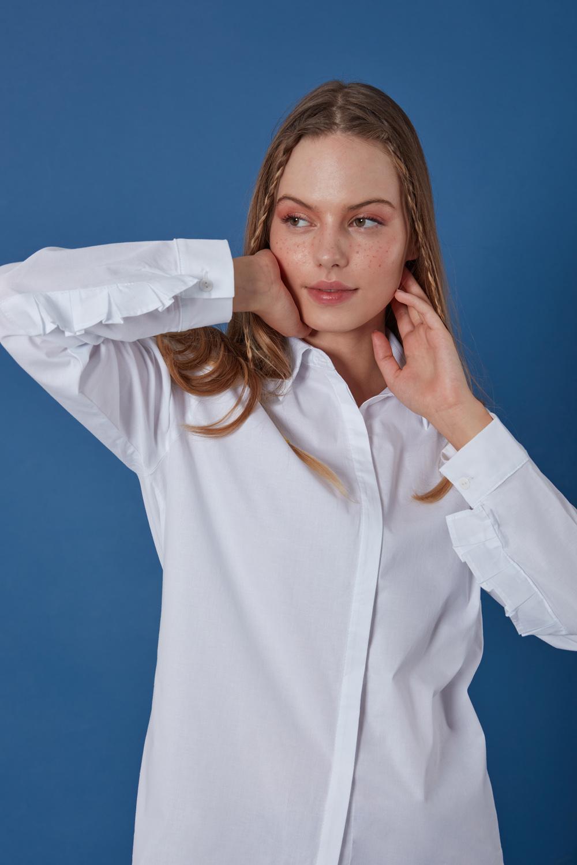 Kolu Fırfırlı Beyaz Gömlek