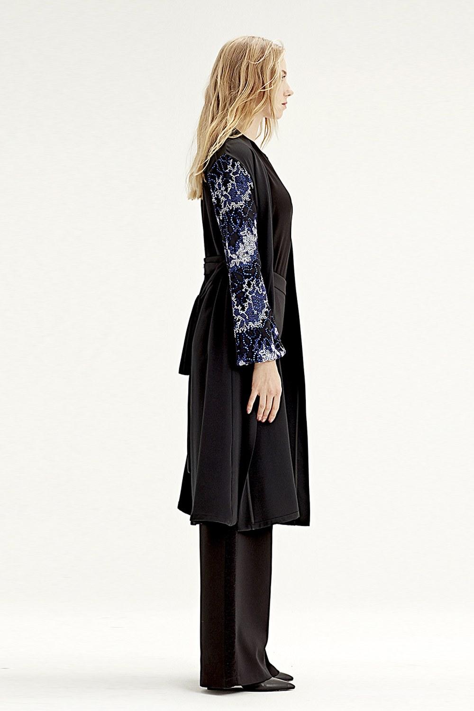 MIZALLE Kimono Inlaid Sleeve (Blue) (1)