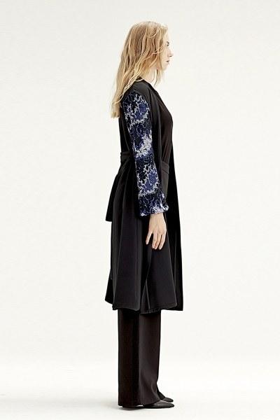 MIZALLE - Kolu İşlemeli Kimono (Mavi) (1)