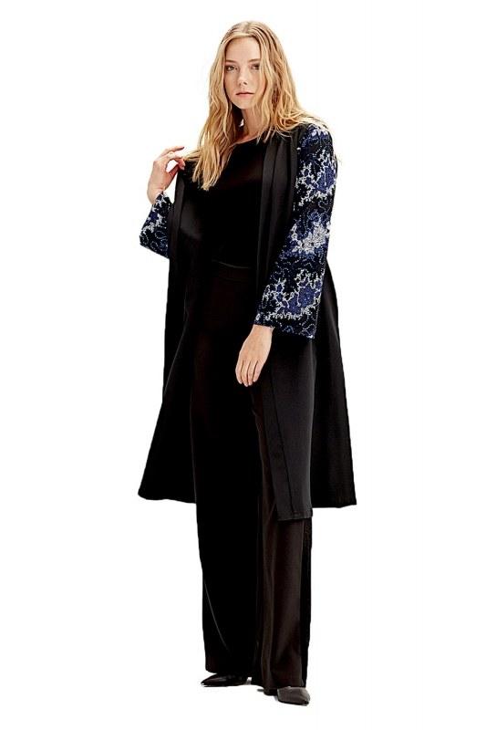 Kolu İşlemeli Kimono (Mavi)