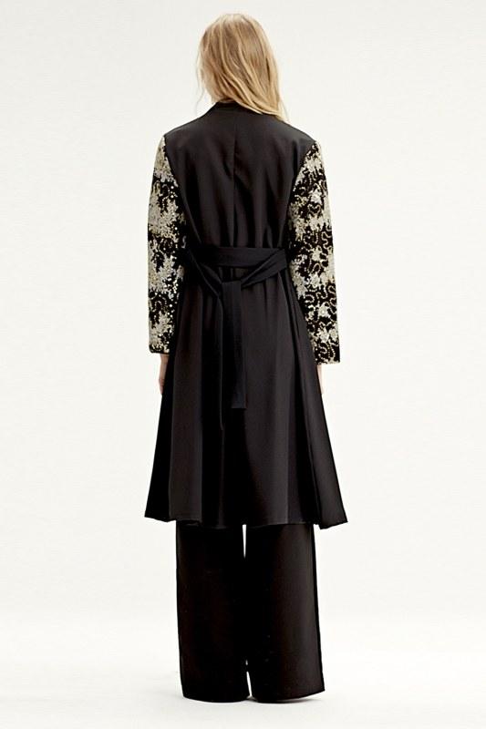 Kolu İşlemeli Kimono (Siyah)
