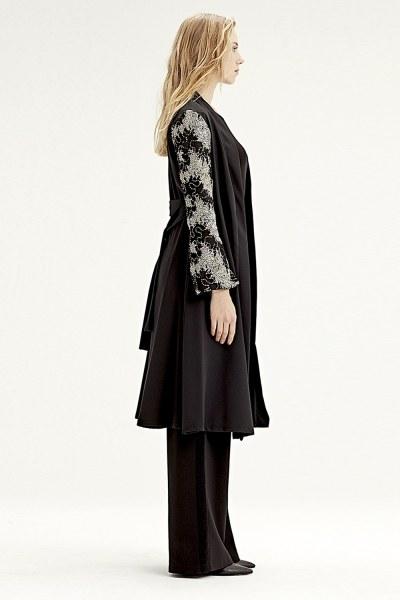 MIZALLE - Kolu İşlemeli Kimono (Siyah) (1)