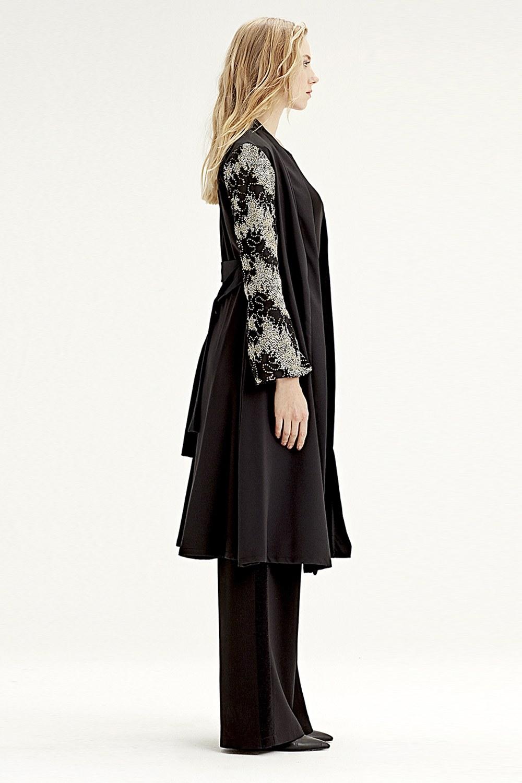 MIZALLE Kolu İşlemeli Kimono (Siyah) (1)