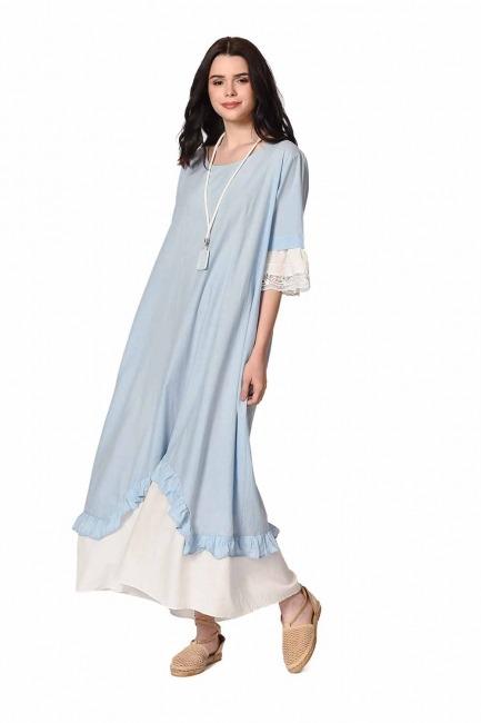 MIZALLE Kolyeli Bürümcük Salaş Elbise (Açık Mavi)