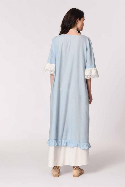 Kolyeli Bürümcük Salaş Elbise (Açık Mavi) - Thumbnail
