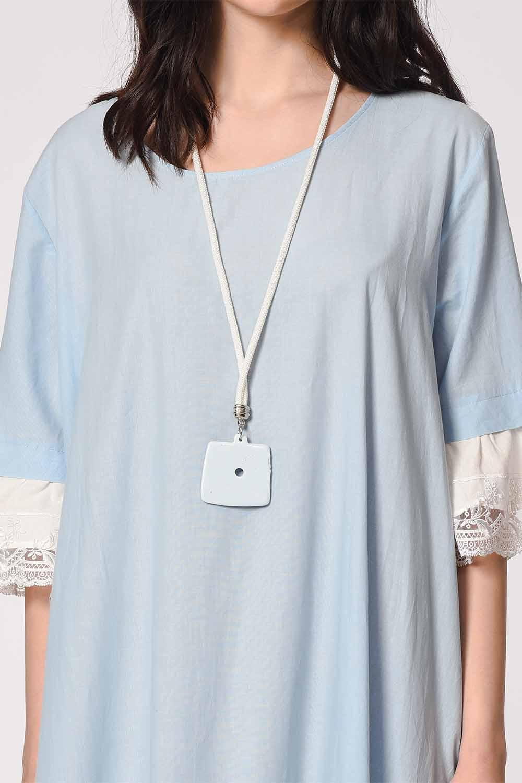 MIZALLE Kolyeli Bürümcük Salaş Elbise (Açık Mavi) (1)