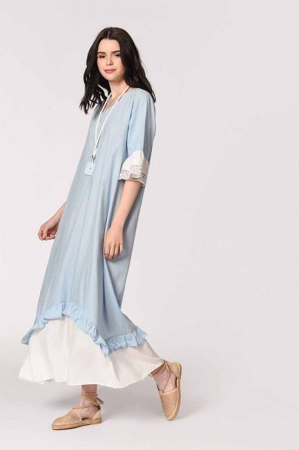 Necklace Detailed Bohemian Dress (Light Blue) - Thumbnail