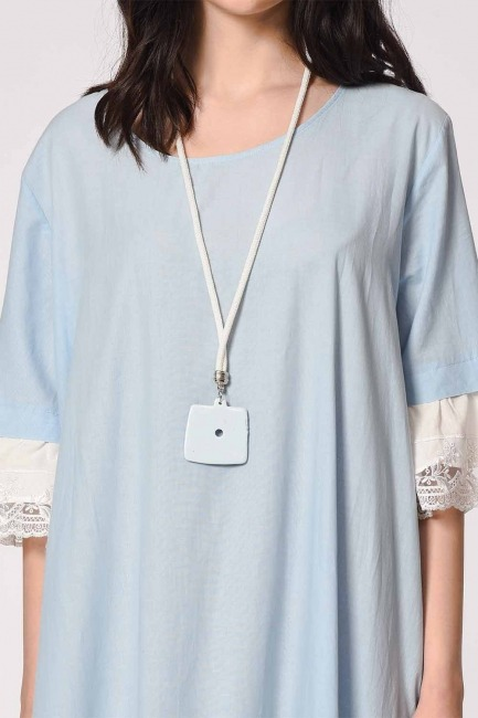 MIZALLE - Necklace Detailed Bohemian Dress (Light Blue) (1)