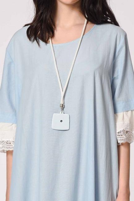 MIZALLE - Kolyeli Bürümcük Salaş Elbise (Açık Mavi) (1)