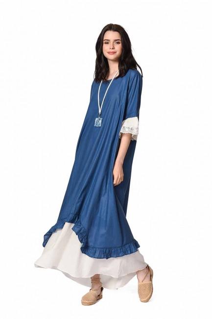 MIZALLE Kolyeli Bürümcük Salaş Elbise (İndigo)