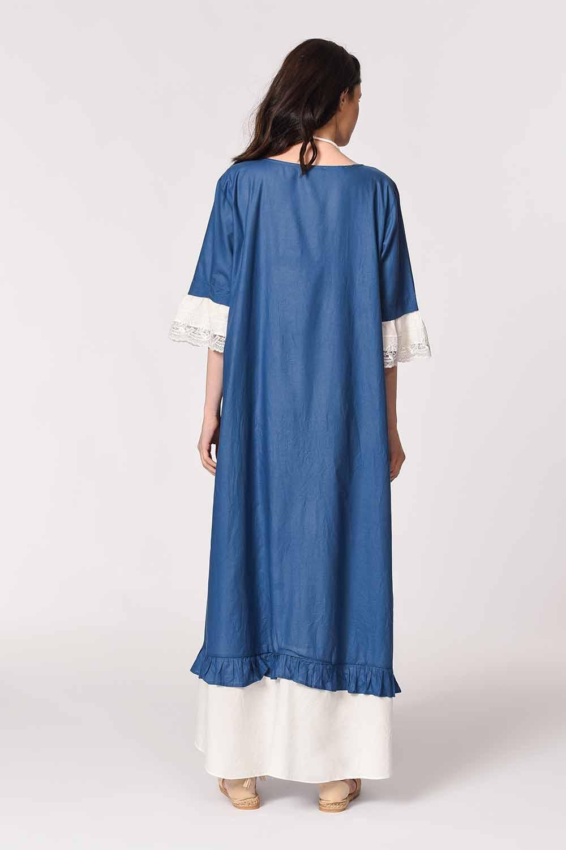 MIZALLE Kolyeli Bürümcük Salaş Elbise (İndigo) (1)