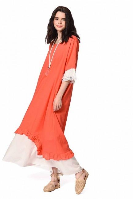 MIZALLE Kolyeli Bürümcük Salaş Elbise (Mercan)