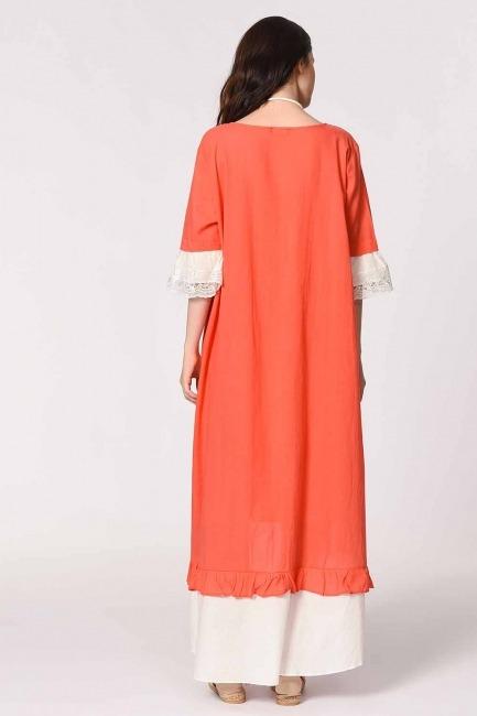 MIZALLE - Kolyeli Bürümcük Salaş Elbise (Mercan) (1)