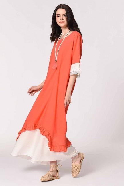 Kolyeli Bürümcük Salaş Elbise (Mercan) - Thumbnail