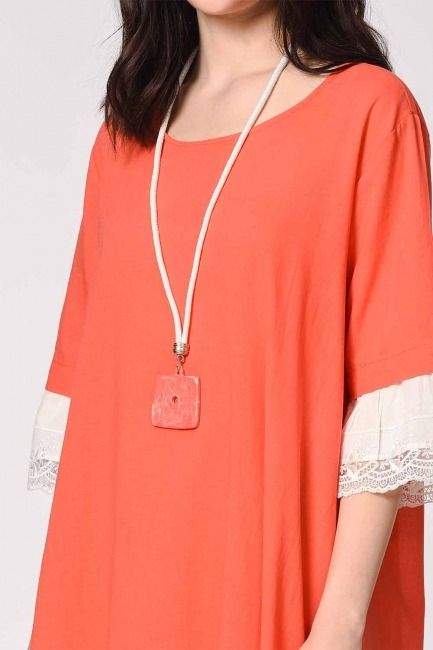 Necklace Detailed Bohemian Dress (Coral) - Thumbnail