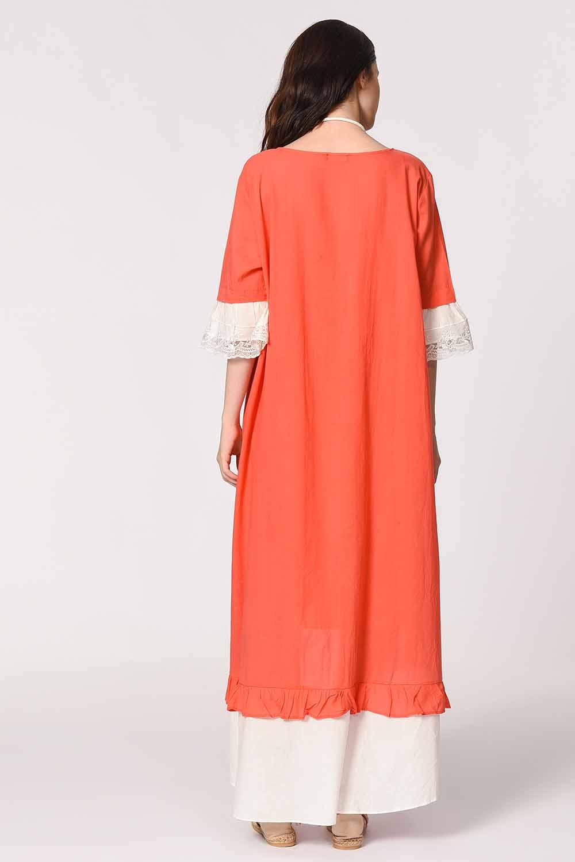 MIZALLE Kolyeli Bürümcük Salaş Elbise (Mercan) (1)