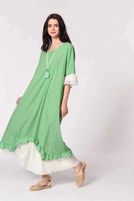 Kolyeli Bürümcük Salaş Elbise (Yeşil) - Thumbnail