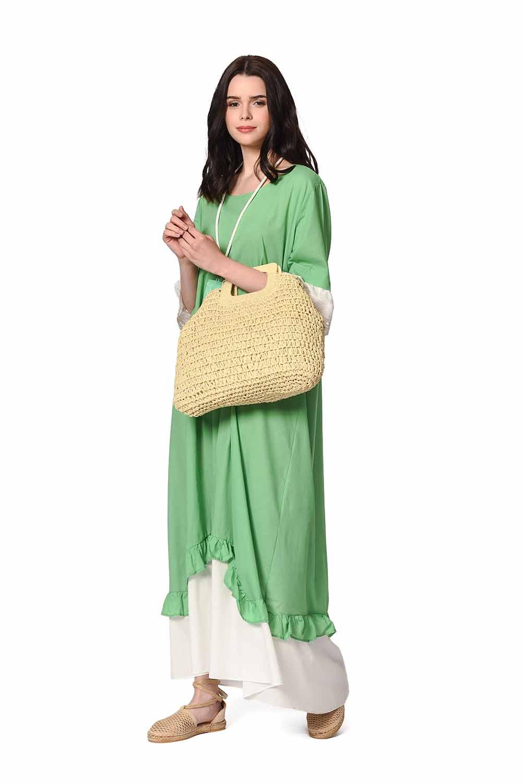 MIZALLE Kolyeli Bürümcük Salaş Elbise (Yeşil) (1)