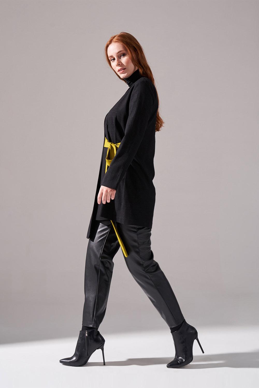 Kontrast Bağlamalı Kimono (Siyah)