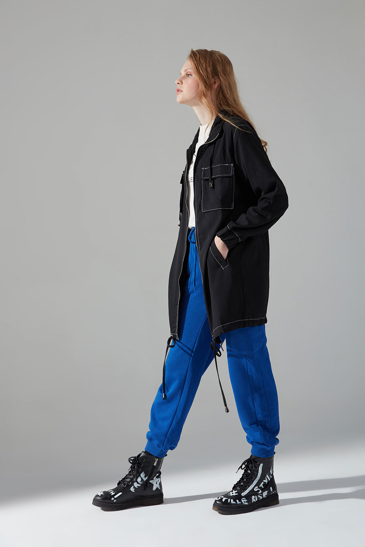Kontrast Dikişli Ceket (Siyah) - Thumbnail