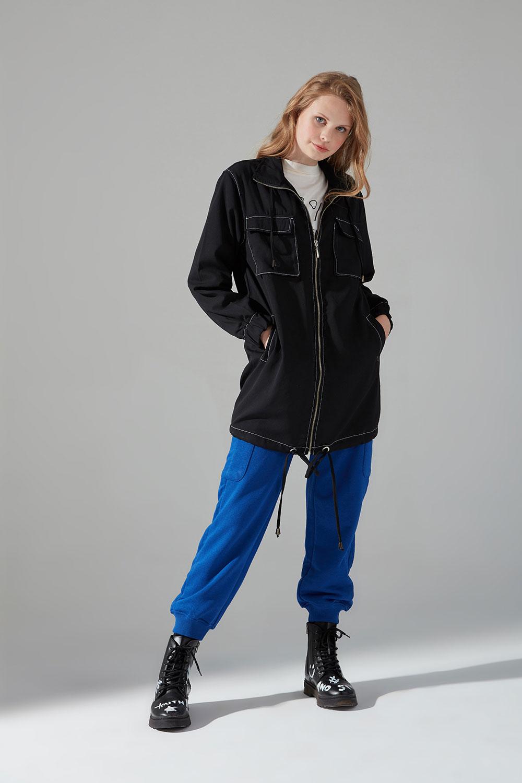 Kontrast Dikişli Ceket (Siyah)