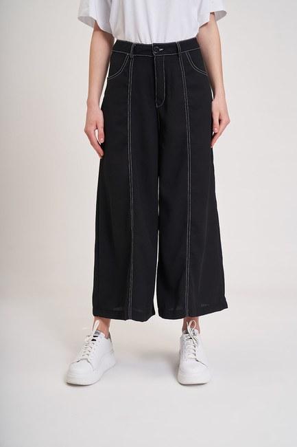 Mizalle Youth - Kontrast Dikişli Pantolon (Siyah) (1)