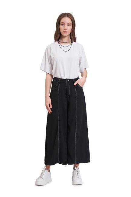 Kontrast Dikişli Pantolon (Siyah) - Thumbnail