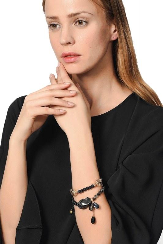 Contrast Bracelet With Stone (Navy Blue)