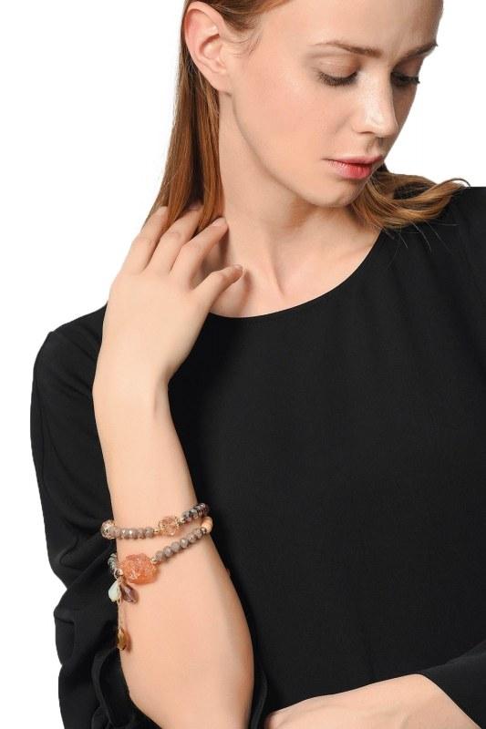 Contrast Bracelet With Stone (Mink)