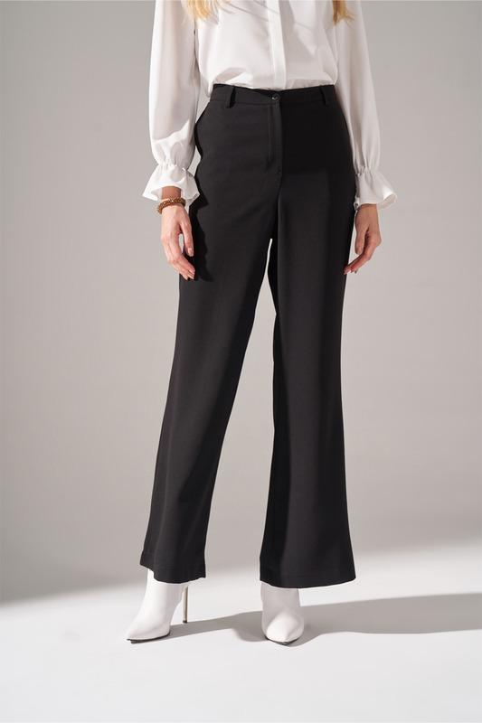 Krep Parçalı Pantolon (Siyah)
