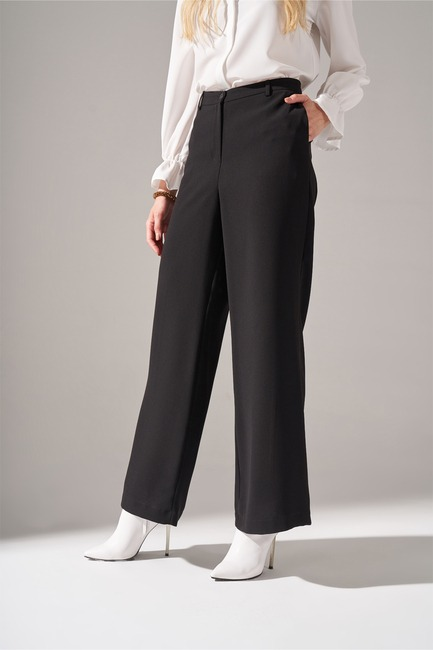 Krep Parçalı Pantolon (Siyah) - Thumbnail