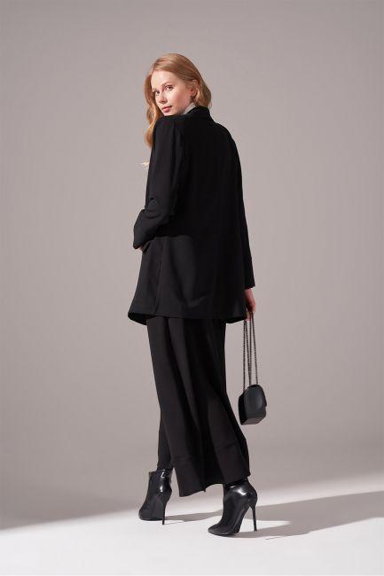 Krep Salaş Ceket (Siyah) - Thumbnail