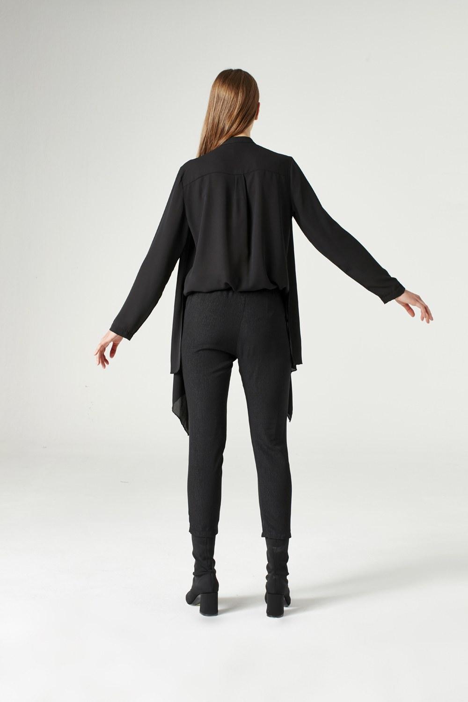 Krep Volanlı Bluz (Siyah)