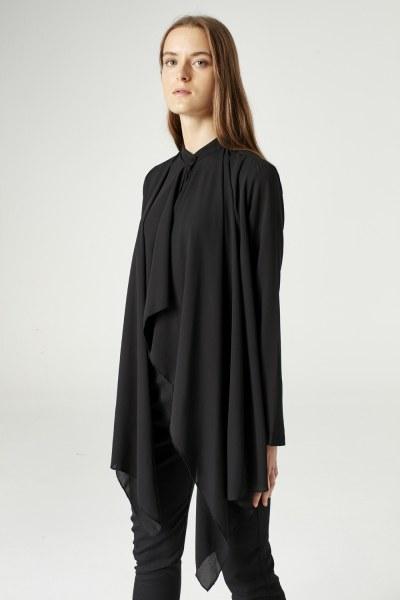 Krep Volanlı Bluz (Siyah) - Thumbnail