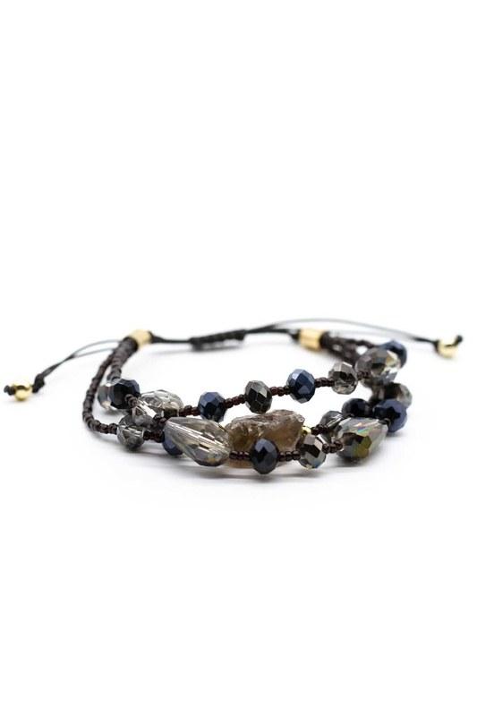 Kristal Boncuklu Doğal Taş Bileklik (Siyah)