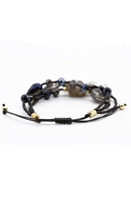 MIZALLE - Crystal Beaded Natural Stone Bracelet (Black) (1)